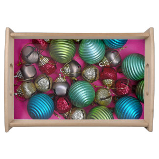 Colorful christmas ornaments serving tray