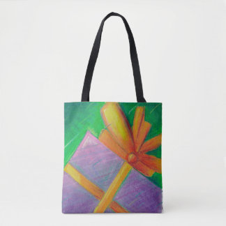Colorful Christmas Present purple green gold gift Tote Bag