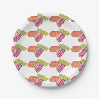 Colorful Christmas Ribbon Candy Holiday Plates