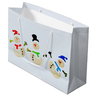 Colorful Christmas Snowman Parade Large Gift Bag