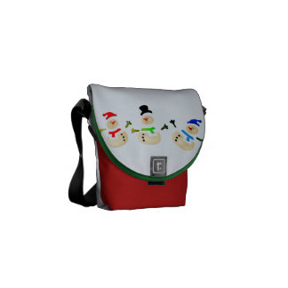 Colorful Christmas Snowman Parade Courier Bags