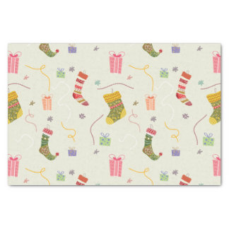 """Colorful Christmas Stockings And Presents 10"""" X 15"""" Tissue Paper"""