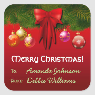 Colorful Christmas Tree Decorations Square Sticker