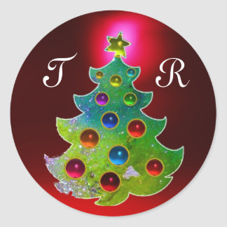 COLORFUL CHRISTMAS TREE IN GREEN GOLD SPARKLES ROUND STICKER