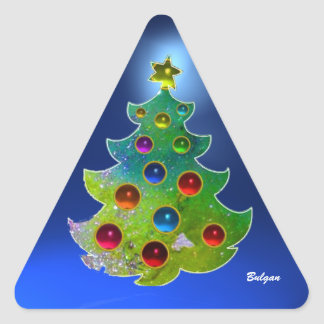 COLORFUL CHRISTMAS TREE IN GREEN GOLD SPARKLES TRIANGLE STICKER