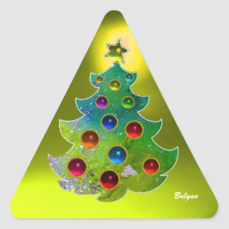 COLORFUL CHRISTMAS TREE IN GREEN GOLD SPARKLES STICKER