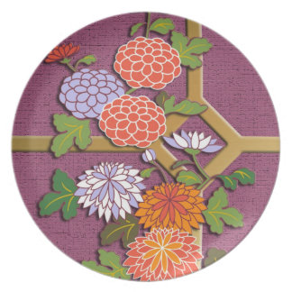Colorful chrysanthemums plate