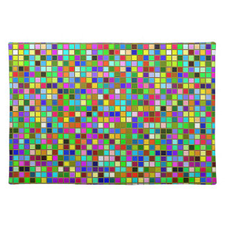 Colorful Chunky Olive Green Square Tiles Pattern Placemat