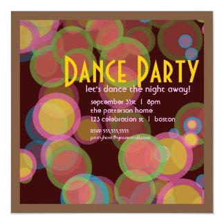 Colorful Circle Disco Light Dance Party Invitation