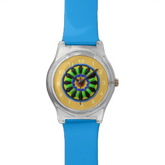 Colorful circle kaleidoscope pattern watch