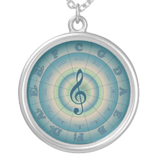 Colorful Circle of Fifths Silver Plated Necklace