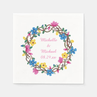 Colorful Circle of Flowers Personalized Napkins Disposable Serviette
