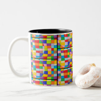 Colorful Circle on Colorful Rectangle Two-Tone Coffee Mug
