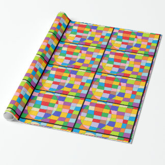 Colorful Circle on Colorful Rectangle Wrapping Paper