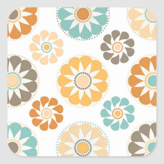 Colorful Circle Paper Flower Patterns Square Sticker