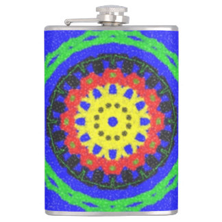 Colorful circle pattern on blue background hip flask