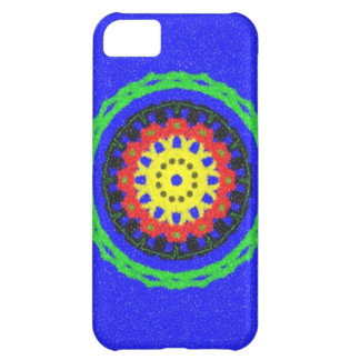 Colorful circle pattern on blue background iPhone 5C case