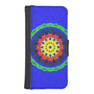 Colorful circle pattern on blue background iPhone SE/5/5s wallet case