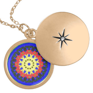 Colorful circle pattern on blue background round locket necklace