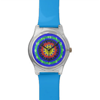 Colorful circle pattern on blue background watch