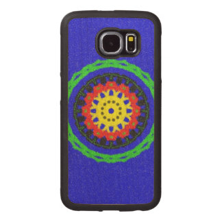Colorful circle pattern on blue background wood phone case