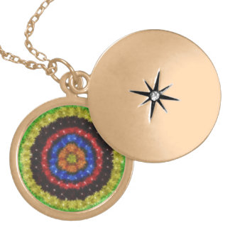 Colorful circle pattern round locket necklace