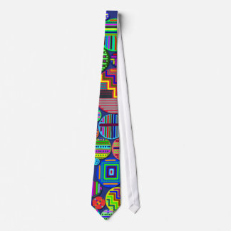 Colorful Circle Patterns on Blue Background Tie