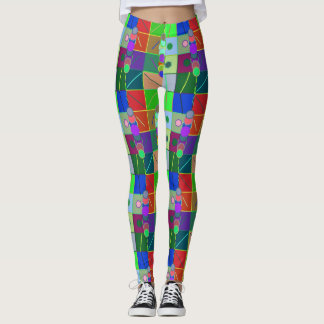 Colorful Circles and Squares Leggings