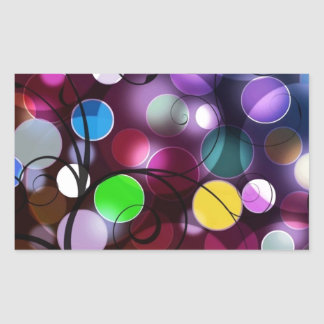 Colorful Circles And Swirls Digital Graphic Design Rectangular Sticker