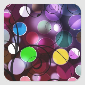 Colorful Circles And Swirls Digital Graphic Design Square Sticker