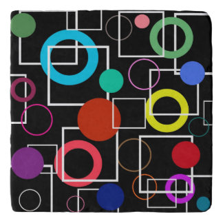 Colorful circles and white square trivet