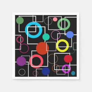 Colorful circles and white squares disposable napkins