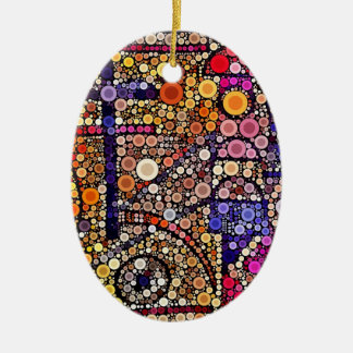 Colorful Circles Mosaic Southwestern Cross Design Christmas Ornament