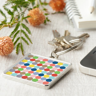 colorful circles of color in pastel Silver-Colored square key ring
