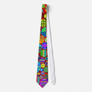 Colorful Circles on Red Background Tie Custom