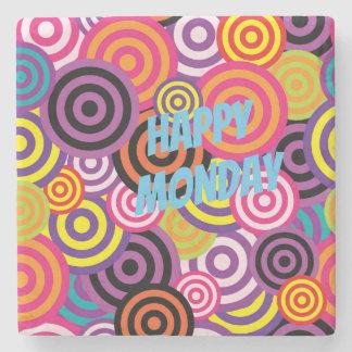 Colorful circles stone coaster