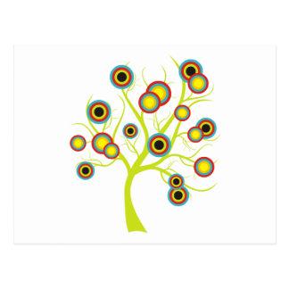 Colorful Circles Tree Postcard