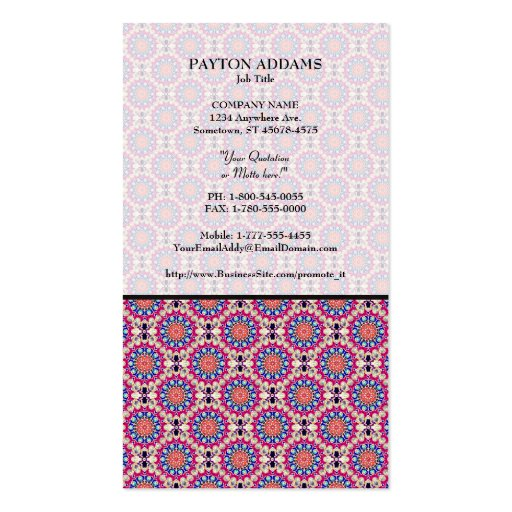 Colorful Circular Repeating Abstract Pattern Business Card Templates