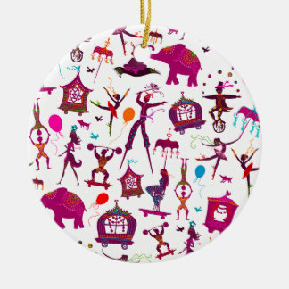 colorful circus characters on white christmas ornament