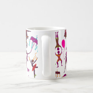 colorful circus characters on white coffee mug