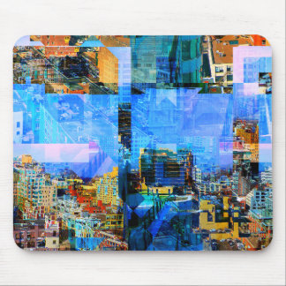 Colorful City Collage Mouse Pad