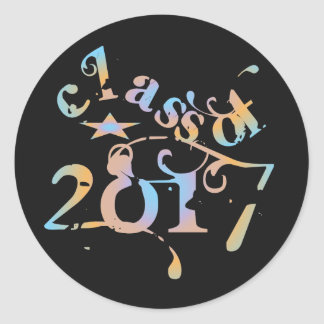 Colorful Class of 2017 Round Sticker