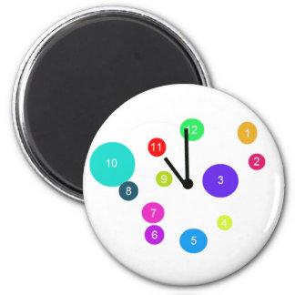 Colorful Clock Design 6 Cm Round Magnet