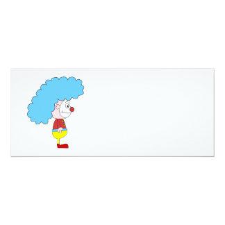 Colorful Clown Cartoon. Blue Hair. Card