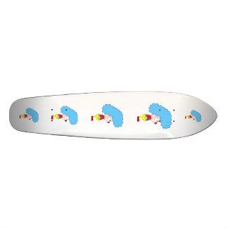 Colorful Clown Cartoon Blue Hair Skate Board Deck