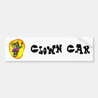 Colorful Clown on ball with horn & drink Bumper Sticker