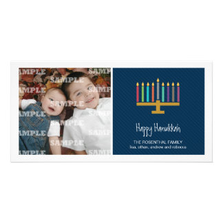 Colorful Cobalt Menorah Hanukkah Card