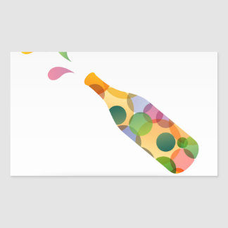 Colorful cocktail party invitation card rectangular sticker