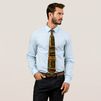 Colorful Coffee Typography Tie