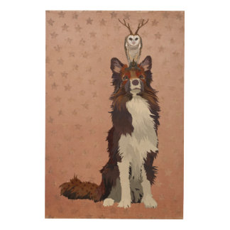 COLORFUL COLLIE & ANTLER OWL Wooden Canvas Wood Print